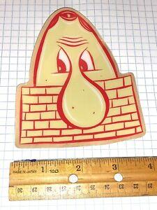 Barry Mcgee TWIST Large Face Silkscreened Sticker Original, Rare Tan/Red
