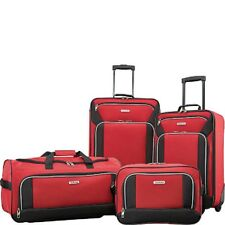 Luggage Set For Men Women Red Polyester Rolling Travel Suit Case Bag Carry On