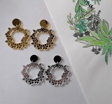 Statement acrylic dangle stud earrings garden wreath etched gold silver mirror