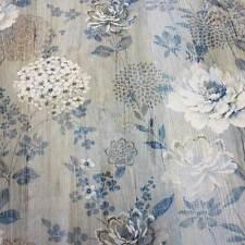 Stoff Meterware Holz blau beige Blumen Hortensie Holzoptik Fotodruck Neu France