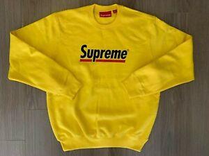 Supreme Underline Crewneck Sweater Lemon Yellow sz M