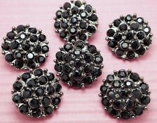 6 Sparkling 19mm Black Glass Rhinestone Dark Tone Shank Buttons H138
