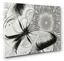 Abstract Canvas Print Floral Butterfly Black White Grey Unique Wall Art a1 a2