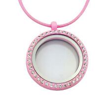 Crystal Living Memory Floating Charms Glass Round Locket Pendant Necklace WKUS