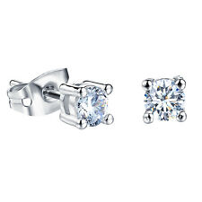 White Gold Plated Earring  Square AAA Cubic Zirconia 4mm Women's G254