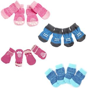 Lot de 4 Chaussettes Anti Glisse Pour Chien Chiot Chat Confortable Antidérapante