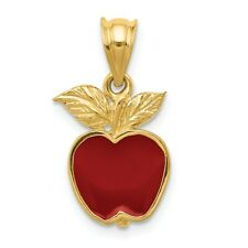 14K Polished Red Enameled Apple Pendant New Charm Yellow Gold