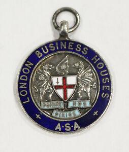 London Business Houses A.S.A Enamel Medal Fob  1st Team