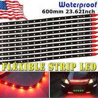 "10x 60CM/24"" Red Flexible LED Underbody Light Strip 2835 Car Motorcycle Boat 12V"