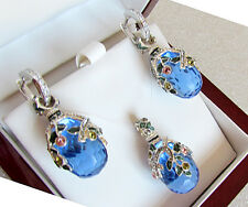 SALE !  SUPERB ENAMEL EGG PENDANT & EARRINGS SET STERLING SILVER 925  BLUE TOPAZ