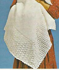 "Gorgeous Baby Shawl Knitting Pattern 3ply 45"" square  837"
