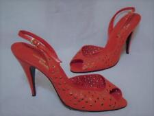 VINTAGE SACHA LONDON RED HOT LEATHER CUTOUT SLINGBACK PEEPTOE STILETTO HEELS 8.5
