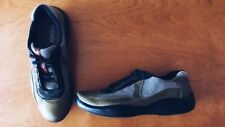 PRADA Fendi Men's Silver Black Olive Green Patent Leather Lace Tie Shoes Size 7