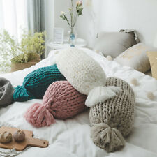 Knitted Candy Shape Round Back Cushion Pillow Tassel Bed Sofa Floor Home Decor