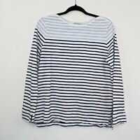 Sportscraft Womens Top Stripe Blue White Cotton Long Sleeve Casual Size L