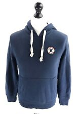 CONVERSE Mens Hoodie Jumper XS Blue Cotton & Polyester