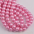 100pcs 6mm Pearl Round Glass Loose Spacer Beads Jewelry Making Deep Pink
