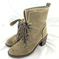 Hunter ankle booties boots 6 M beige suede shearling lace up block heel Marisa