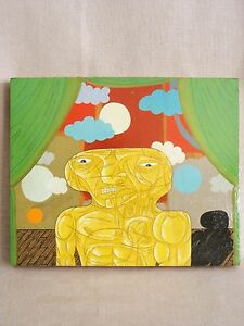 Surreal Painting, Portrait, Alien, Male Portrait, Wood Panel, Original Art