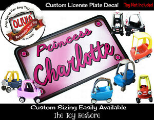 Custom License Plate Decal Sticker Fits Little Tikes Cozy Coupe Princess Words