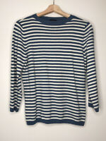 SALE Talbots Wool Blend Blue White Stripe Boat Neck 3/4 Sleeve Sweater Size M
