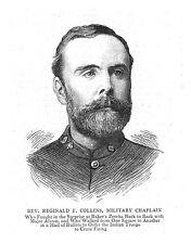 REV Reginald F Collins CAPPELLANO MILITARE-stampa antica 1885