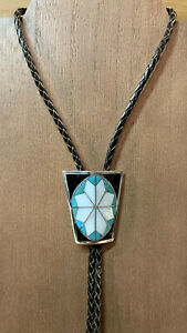 Vintage Zuni Bolo Tie Sterling Silver With Turtle Shell, Turquoise & MOP Inlay