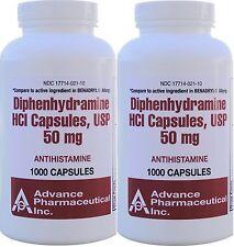 Diphenhydramine 50 mg Allergy Medicine Generic Benadryl 1000 per Bottle 2 PACK