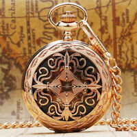 Fashion Rose Gold Hollow Skeleton Handwind Mechanical Pocket Watch Pendant Chain