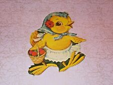 Vtg Easter Dennison Cardboard Decoration Die Cut Chick Bonnet Basket Rare #Bb
