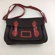 Cambridge Satchel Company 13 inch Classic Black & Red Leather Satchel Made in UK