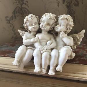 Cream Cherub Triplets, Shabby Chic Shelf Sitting Ornament, Adorable Gift
