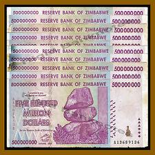 10 Pcs x Zimbabwe 500 Million Dollars, 2008 AA/AB Circulated, 50 100 Trillion
