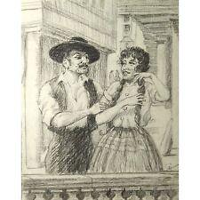 Retro Bristol salvajes español amantes señor señorita Dibujo Firmado Holloway