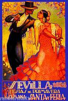 1928 Feria de Sevilla Fair of Seville Spain Vintage Travel Advertisement Poster