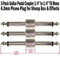 "3-Pack Guitar Pedal Coupler 1/4"" Male Plug Effect Stomp Box 6.3 Audio Phone Plug"
