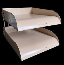 Industrial Metal Paper File Sorter Desk Organizer 2 Tier Trays Vtg Mid Century