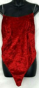 Vtg Fredericks Of Hollywood Lingerie Teddy Sexy  Red Velour Rinestone Strap L