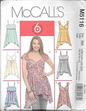 Ladies 18-24 plus size sewing pattern McCall's M5116 empire side zipper top f/f