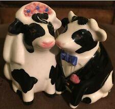 Wedding Cow Bride and Groom couple wedding cake topper Clay Art Salt Shakers