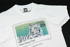 Vintage 90s White Bengal Tiger T Shirt Usps Stamp Nature Wildlife Mens Xl