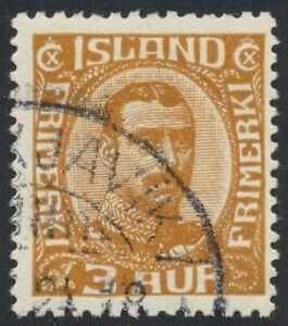 Iceland Scott 109/Facit 125, 3 aur brown Christian X, F-VF used