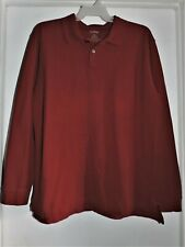L.L. Bean Men's Long Sleeve Polo Shirt Dark Red Size X-Large Tall Euc