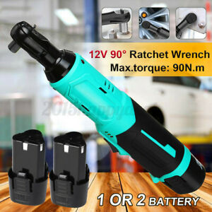90N.m Electric Cordless Ratchet Right 90° Angle Wrench Tool + 1/2x Battery Se