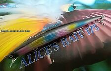 "NEW LONG JERK ""ALICE'S BAIT"" MINNOW 175 SLIM FLOATING - COLOR: AK225 BLACK RAIN"