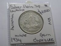 Australia Florin 1934 Silver Coin King George V  Gem Choice UNC Low Mintage $
