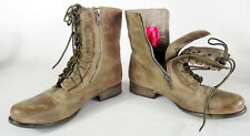 Betsey Johnson brown leather boot steampunk victorian ruffle combat tuxedo 8.5