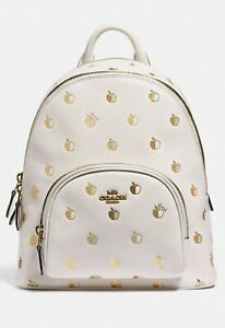 Coach Carrie Backpack 23 White With Apple Print - New With Tags