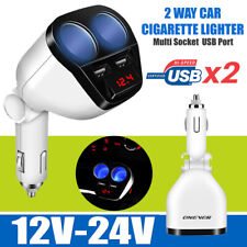 Dual-usb LCD Car Charger Cigarette Lighter Double Power Adapter Socket Splitter