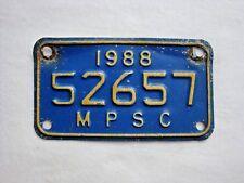 1988 MICHIGAN Public Service Motorcycle Vintage License Plate # 52657